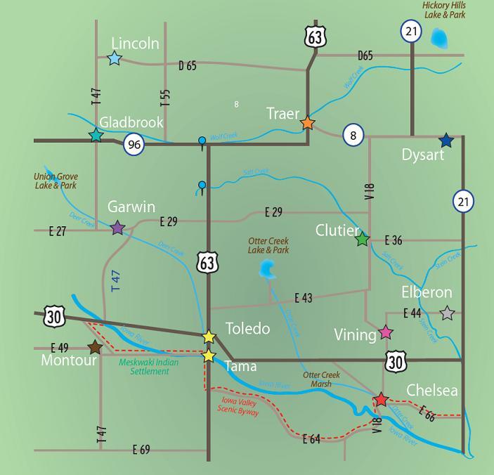 tama county iowa map Tama County Iowa Communities