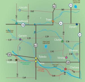 Tama County map with state highways